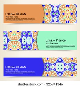 multicolored set of horizontal banner templates with hand drawn tribal ornament, mandala. Vector illustration