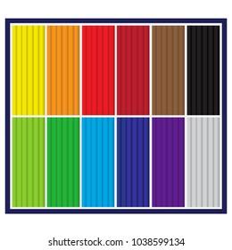 A multicolored set of plasticine. A set for the development of children. Vector illustration. Flat design.
