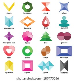 Multicolored shapes set on the white background