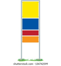 Multi-colored signboard. Created in Adobe Illustrator and saved as EPS 10. Image contains linear gradient.