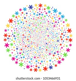 Multicolored Snowflake festival round cluster. Vector spheric cluster salute done from random snowflake symbols. Multicolored Vector illustration.