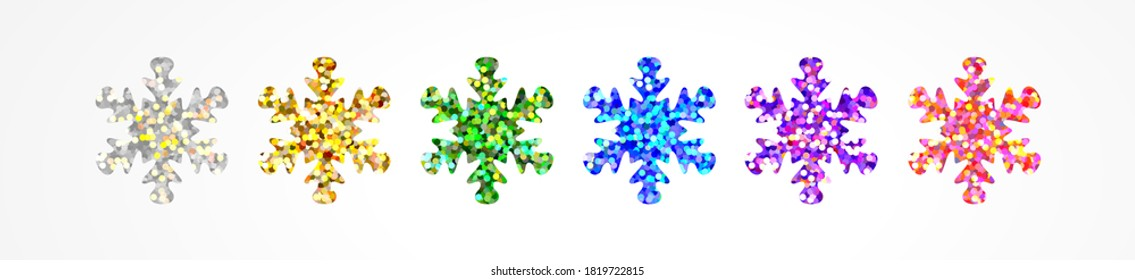 Multicolored snowflakes with holographic glitter from sparkling foil isolated on white. Beautiful decor for decorating a Merry Christmas and Happy New Year joyful holidays and events. Vector design
