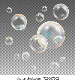 Multicolored Soap Bubbles Vector. Water And Foam Design. Rainbow Reflection Soap Bubbles. Isolated Illustration