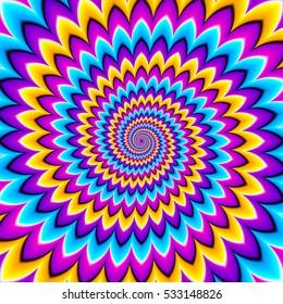 Multicolored spirals. Motion illusion.
