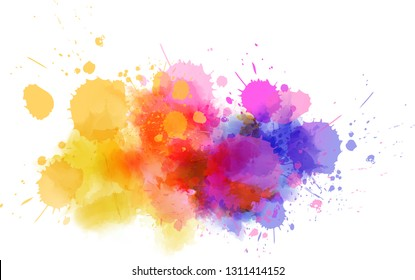 Multicolored splash watercolor blot - template for your designs.