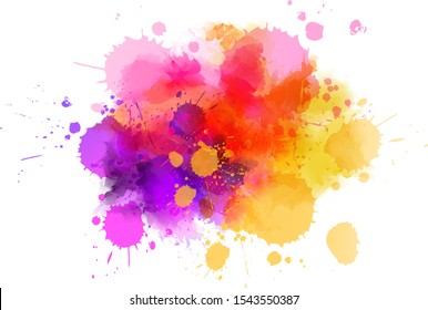 Multicolored splash watercolor paint blot - template for your designs. Purple, pink and orange colored
