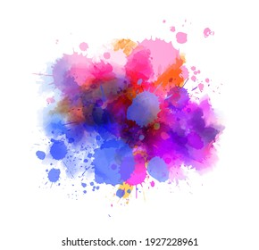 Multicolored splash watercolor paint blot - template for your designs. Blue and purple colored