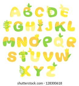 Multicolored spring vector alphabet