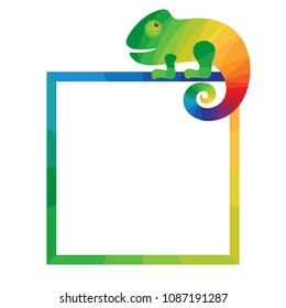 Multicolored square frame with chameleon. Template for photo frame or flyer. White background. Vector illustration.
