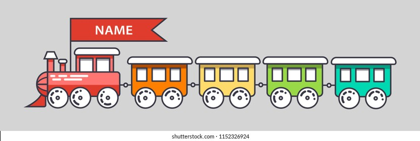multi-colored steam locomotive for children cheerful vector
