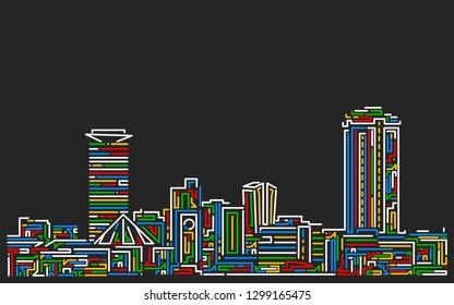 Multicolored stroke style Nairobi skyline