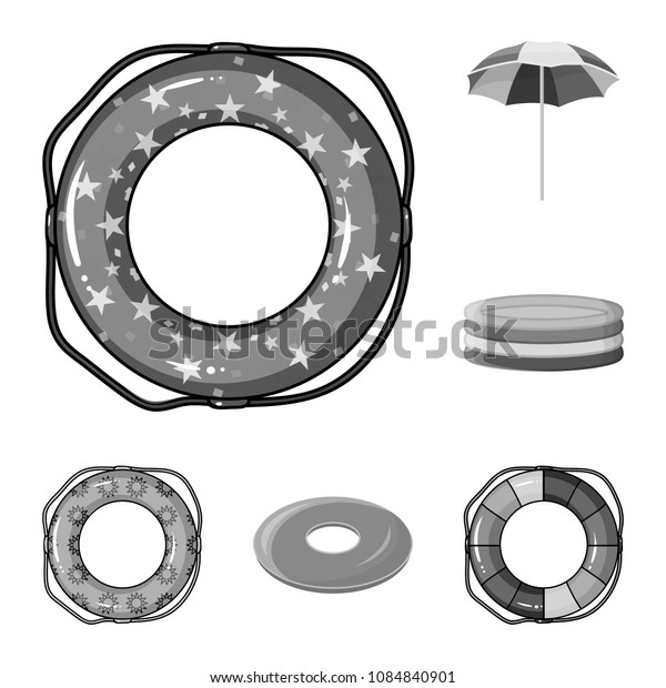 Multicolored swimming circle monochrome icons in set collection for design. Different lifebuoysvector symbol stock web illustration.