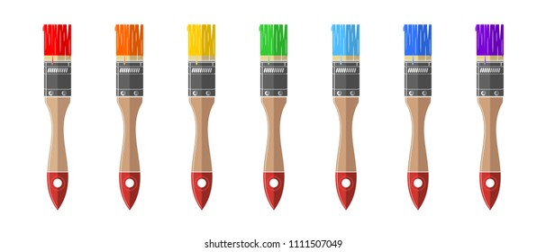 Multi-colored tassels of seven colors of a rainbow. Paint brushes icons set. Vector illustration