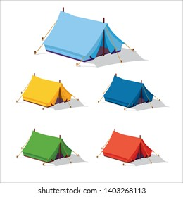 multicolored tents icons, Hiking and camping tent vector icons. Triangle and dome flat design tents collection in green, blue, yellow and orange colors. Tourist camp tents set isolated on white backgr