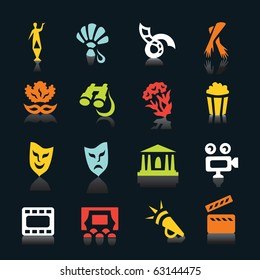 Multicolored theatre and cinema icons with shadows on black background
