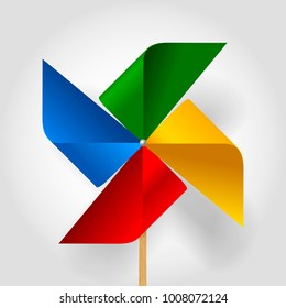Multicolored toy paper windmill propeller. Pinwheel with blades of different colors. Vector illustration