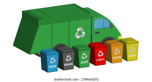 multicolored trash cans with a logo near a green garbage truck with a logo on a white background. Ecology concept. vector 3d illustration
