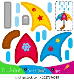 Multi-colored umbrella with drops of rain water. Education paper game for preshool children. Vector illustration.