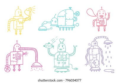 Multicolored vector doodle robots. Isolated on white background.