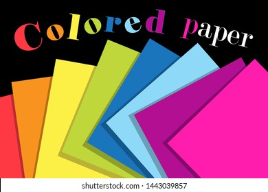 Multicolored vector paper on a dark background. Design template for advertising business card, poster or web page.