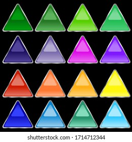 Multi-colored volumetric buttons in the form of a triangle of saturated color with a mirror effect. Buttons with a gray stroke on a black background. Vector graphics. Stock Photo.