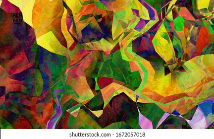 Multicolored wavy pattern overlapping gradient  filtered shapes.Vibrant light effect stained glass window or cubism art painting. Abstract vector template for marketing technologies.