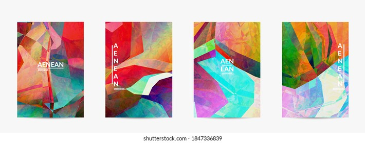 Multicolored wavy pattern overlapping gradient  filtered shapes. Vibrant light effect stained glass window or cubism art painting. Abstract vector template for marketing technologies.