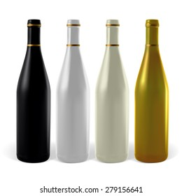 Multi-colored wine bottles. Illustration contains gradient meshes.