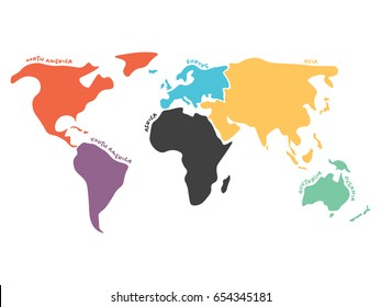 Multicolored world map divided to six continents in different colors - North America, South America, Africa, Europe, Asia and Australia Oceania. Simplified silhouette vector map with continent name