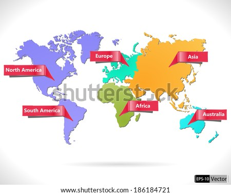 Multicolored World Map Macrogeographical Regions Vector Stock ...
