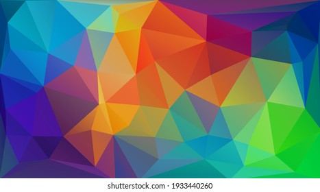 Multicolorful low poly flat background with triangles for web design