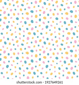 Multicolour dotted pattern. Seamless pattern.  Trendy minimalistic spotted texture. Background for card, presentation, web banner, textile, wrapping paper.