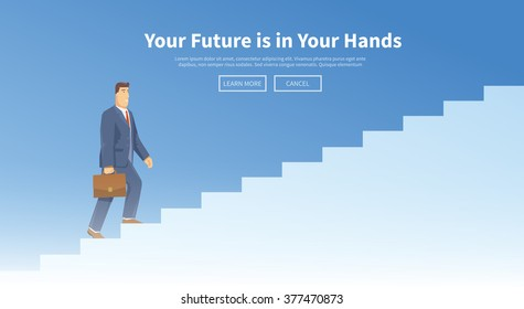Multicolour stock exchange trading set of web banner. Equity market. World economy major trends. Modern flat design. People walking down the stairs.