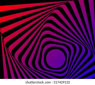 Multicoloured optical illusion. Vasarely optical effect. Multicoloured Twisted Stripes Background, torsion and rotation movement. Dynamic effect, striped background. One More Go-around motion illusion