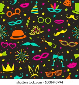 Multicoloured party background with funny icons - carnival, phot booth and birthday. Seamless texture. Vector.