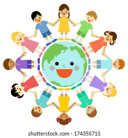 Multicultural children around the earth . Vector EPS 10 illustration