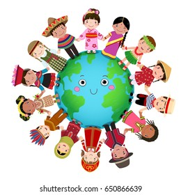 Multicultural children holding hands around the world
