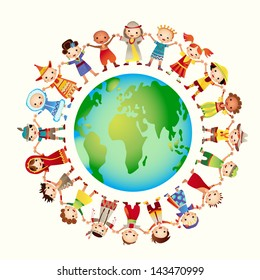 multicultural children on planet earth, cultural diversity, traditional folk costumes. Earth is my friend. Group of children around the world.