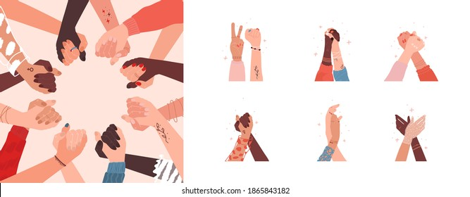 Multicultural female friendship concept. Collection with different hand gestures and magic around. Women standing up against discrimination. Boho jewelry on fingers and feminine tattoo. Girl diverse