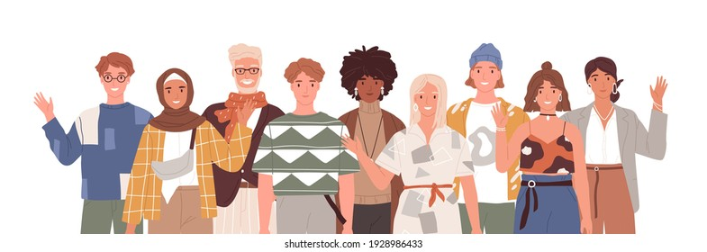 Multicultural group of diverse people waving, saying hi and welcoming. Portrait of multi-ethnic men and women standing together. Colored flat cartoon vector illustration isolated on white background