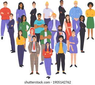 Multicultural group of people. People of different races and cultures. Cartoon characters set in flat design style. Vector illustration