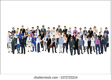 multicultural group of people and jobs isolated on white background. Happy old and young men, women and children standing together. Social diversity. Flat cartoon vector illustration