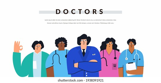 Multicultural group of positive doctors and nurses isolated on white background. Diverse healthcare professional team in cartoon style. Hand drawn smiling medicine characters. Flat vector banner