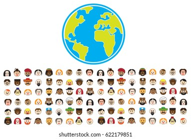 Multicultural illustration of the diversity of people on the planet earth
