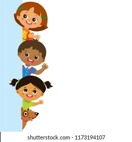 Multicultural Kids behind vertical banner vector. Group of children vector. School Kids With Blank Banner.