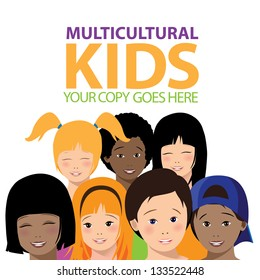 Multicultural Kids. EPS 8 vector, grouped for easy editing. No open shapes or paths.