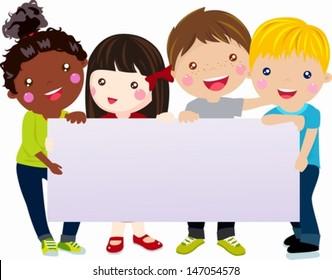 Multicultural kids holding blank banner