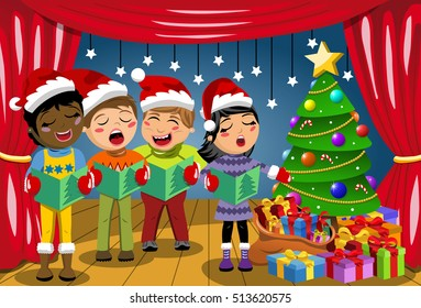 Multicultural kids wearing xmas hat and singing Christmas carol at nativity play on stage