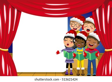 Multicultural kids wearing xmas hat and singing Christmas carol at nativity play on stage copyspace