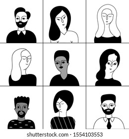 Multicultural male and female characters vector portraits set. Multinational men and women outline monochrome illustrations set. Smiling multiethnic people avatars black and white collection